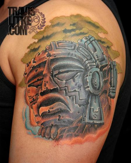 Travis Litke - Mayan Ruins Mayan God Tattoo